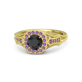 Round Black Diamond 14K Yellow Gold Ring with Amethyst