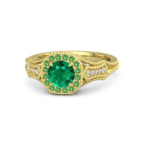 Round Emerald 14K Yellow Gold Ring with Emerald and White Sapphire