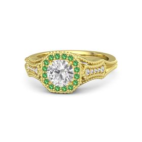 Round White Sapphire 14K Yellow Gold Ring with Emerald and White Sapphire