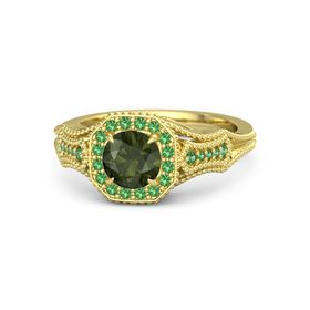 Round Green Tourmaline 14K Yellow Gold Ring with Emerald