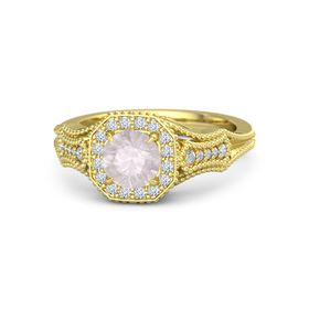 Round Rose Quartz 14K Yellow Gold Ring with Diamond