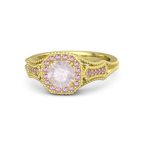 Round Rose Quartz 14K Yellow Gold Ring with Pink Sapphire and Pink Tourmaline
