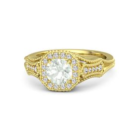 Round Green Amethyst 14K Yellow Gold Ring with White Sapphire