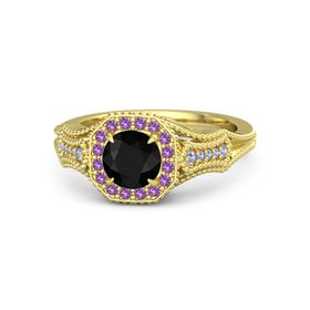 Round Black Onyx 14K Yellow Gold Ring with Amethyst and Tanzanite
