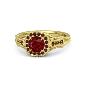 Round Ruby 14K Yellow Gold Ring with Red Garnet