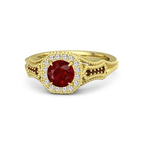Round Ruby 14K Yellow Gold Ring with White Sapphire and Red Garnet