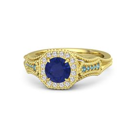 Round Sapphire 14K Yellow Gold Ring with White Sapphire & London Blue Topaz