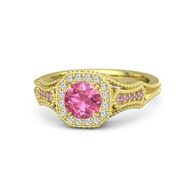 Round Pink Tourmaline 14K Yellow Gold Ring with White Sapphire & Pink Tourmaline
