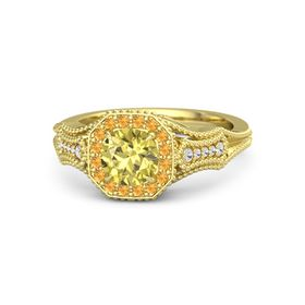 Round Yellow Sapphire 14K Yellow Gold Ring with Citrine and White Sapphire