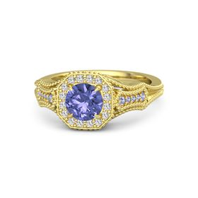 Round Tanzanite 14K Yellow Gold Ring with White Sapphire and Tanzanite