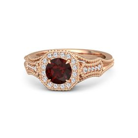 Round Red Garnet 18K Rose Gold Ring with White Sapphire