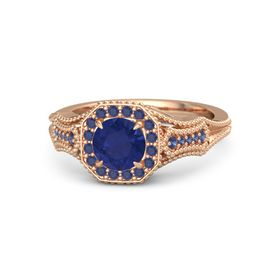 Round Sapphire 18K Rose Gold Ring with Sapphire