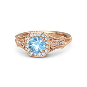 Round Blue Topaz 18K Rose Gold Ring with Aquamarine and White Sapphire