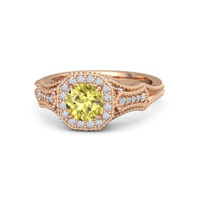 Round Yellow Sapphire 18K Rose Gold Ring with Diamond