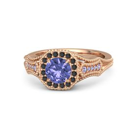 Round Tanzanite 18K Rose Gold Ring with Black Diamond and Tanzanite
