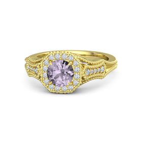 Round Rose de France 18K Yellow Gold Ring with Diamond