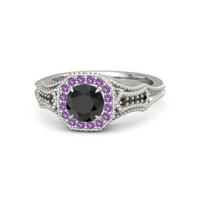 Round Black Diamond Palladium Ring with Amethyst & Black Diamond