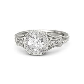 Round Rock Crystal Palladium Ring with White Sapphire