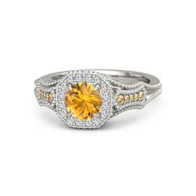 Round Citrine Palladium Ring with White Sapphire & Citrine