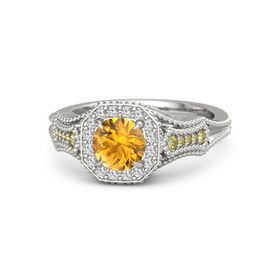 Round Citrine Palladium Ring with White Sapphire and Yellow Sapphire