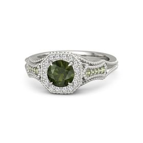 Round Green Tourmaline Palladium Ring with White Sapphire and Peridot
