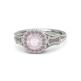 Round Rose Quartz Palladium Ring with Rhodolite Garnet