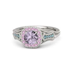 Round Rose de France Platinum Ring with Pink Tourmaline and London Blue Topaz