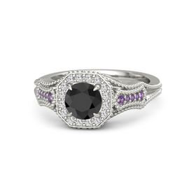 Round Black Diamond Platinum Ring with White Sapphire and Amethyst