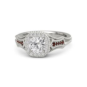 Round White Sapphire Platinum Ring with White Sapphire and Red Garnet