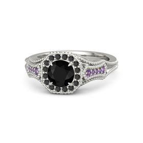 Round Black Onyx Platinum Ring with Black Diamond and Amethyst