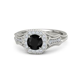 Round Black Onyx Platinum Ring with Diamond