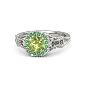 Round Peridot Platinum Ring with Emerald and Green Tourmaline