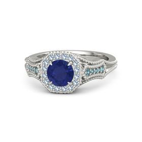 Round Blue Sapphire Platinum Ring with Blue Topaz and London Blue Topaz