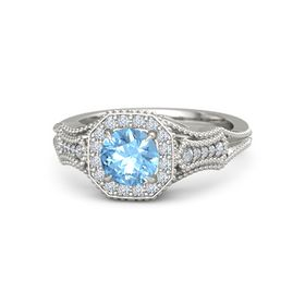 Round Blue Topaz Platinum Ring with Diamond
