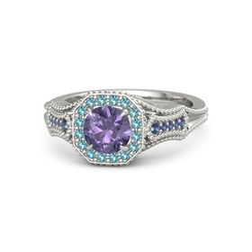 Round Iolite Platinum Ring with London Blue Topaz and Blue Sapphire