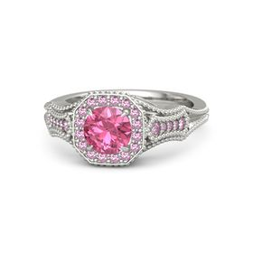 Round Pink Tourmaline Platinum Ring with Pink Sapphire