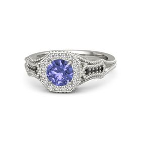 Round Tanzanite Platinum Ring with White Sapphire & Black Diamond