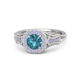 Round London Blue Topaz Sterling Silver Ring with Tanzanite