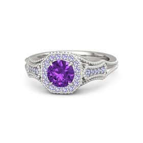 Round Amethyst Sterling Silver Ring with Tanzanite