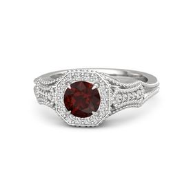 Round Red Garnet Sterling Silver Ring with White Sapphire
