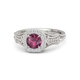 Round Rhodolite Garnet Sterling Silver Ring with White Sapphire