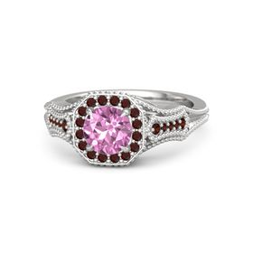 Round Pink Sapphire Sterling Silver Ring with Red Garnet
