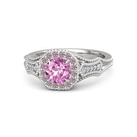 Round Pink Sapphire Sterling Silver Ring with Rhodolite Garnet and Diamond