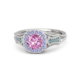 Round Pink Sapphire Sterling Silver Ring with Iolite & London Blue Topaz