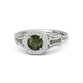 Round Green Tourmaline Sterling Silver Ring with White Sapphire and Green Tourmaline