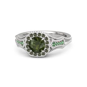 Round Green Tourmaline Sterling Silver Ring with Green Tourmaline & Emerald