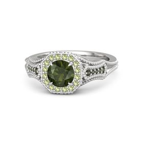 Round Green Tourmaline Sterling Silver Ring with Peridot and Green Tourmaline