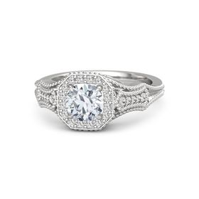 Round Moissanite Sterling Silver Ring with White Sapphire