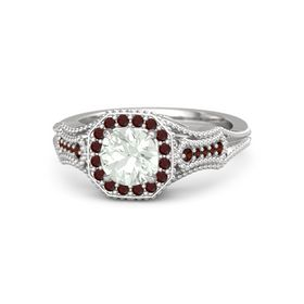 Round Green Amethyst Sterling Silver Ring with Red Garnet