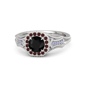 Round Black Onyx Sterling Silver Ring with Red Garnet and Tanzanite